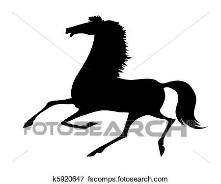 450x375 Clip Art Of Vector Silhouette Running Horse On White Background
