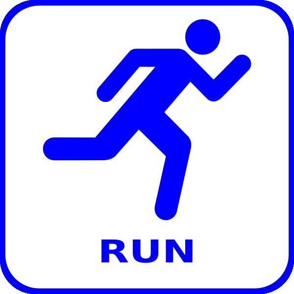 600x600 Blue Running Icon Clip Art