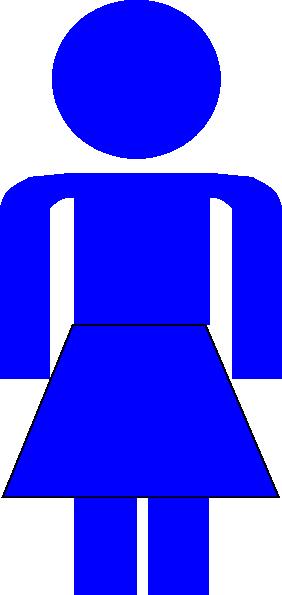 282x595 Blue Stick Figure Lady Clip Art