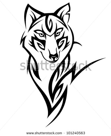 384x470 Tribal Wolf Tattoo Tribal Wolf Tattoo Design Stock Vector