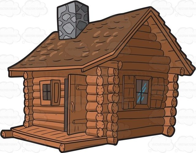 640x499 Cartoon Log Cabin Wow! A Log Cabin With Chimney Cartoon Clipart