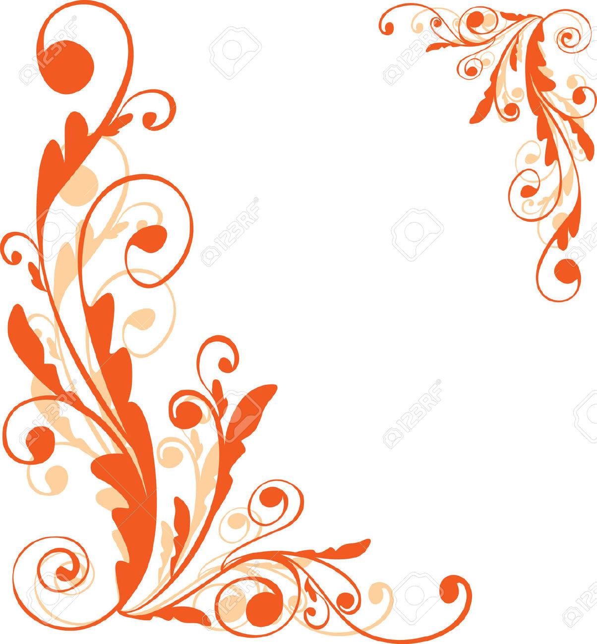 1204x1300 Orange Flower Clipart Corner Flower