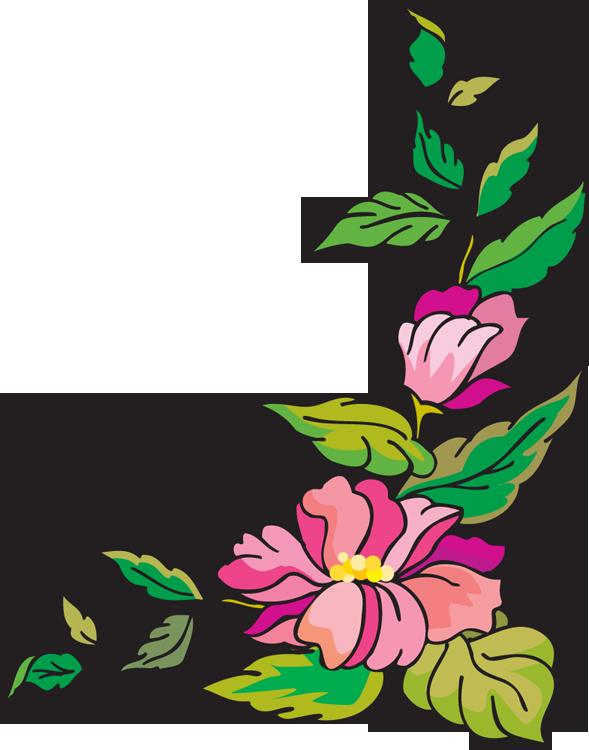 589x750 Purple Flower Clipart Border