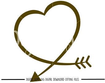 340x270 Heart Arrow Svg Etsy