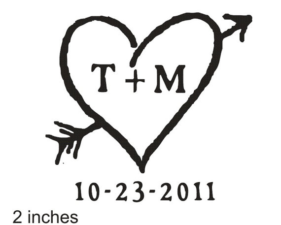 570x457 Items Similar To Rustic Heart Rubber Stamp With Etched Monogram 2