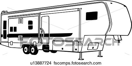 450x227 Clipart Of , Camper, Fifth, Recreation, Recreational, Rv, Vehicle