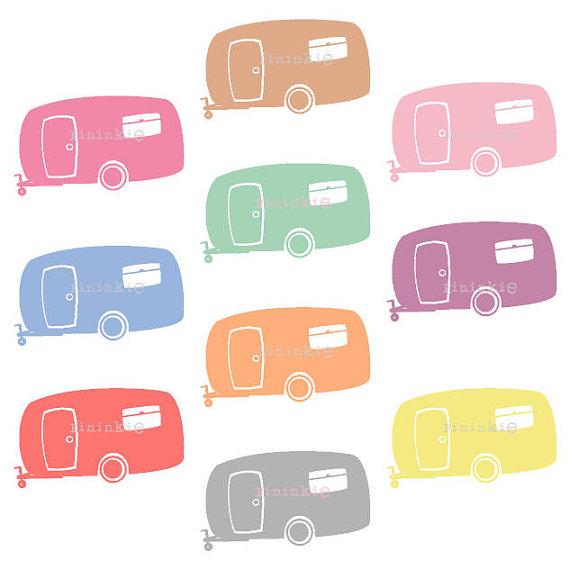 570x570 Retro Clipart, Summer Clipart, Camping Clip Art, Camper, Caravan