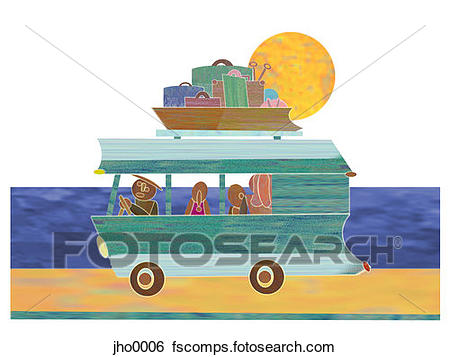 450x357 Stock Illustration Of Family Travelling In An Rv Jho0006