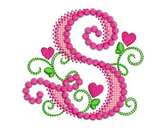 570x449 Cute Letter S Alphabet For Lil Princess Hearts Applique