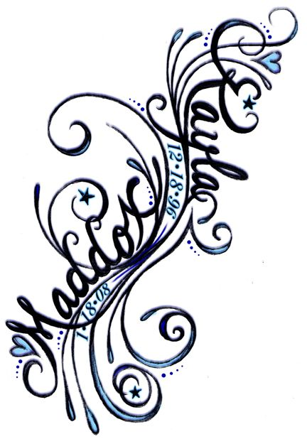 432x618 Namen Und Geb.datum Der Kinder Ink Tattoo, Tatting