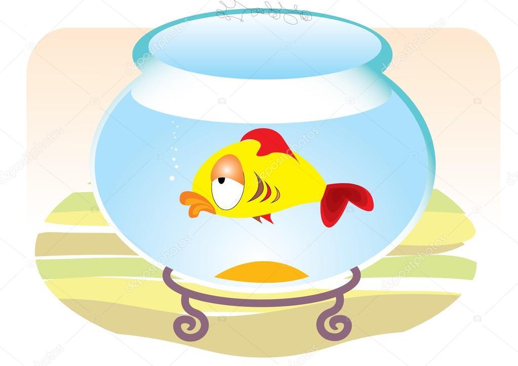 1023x723 Cartoons Sad Fish In Aquarium Stock Vector Geraktv