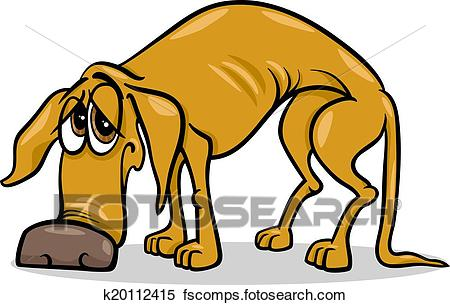 450x305 Clipart Of Sad Homeless Dog Cartoon Illustration K20112415