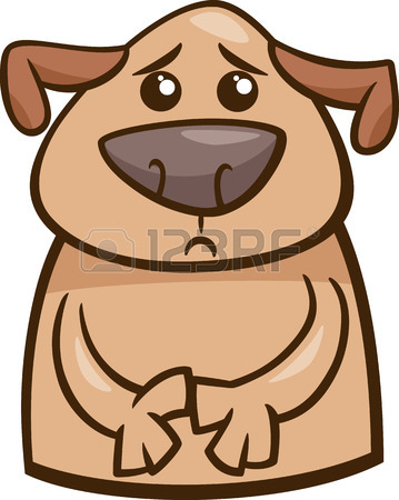 359x450 Cartoon Illustration Of Funny Dog Expressing Sick Mood Or Emotion