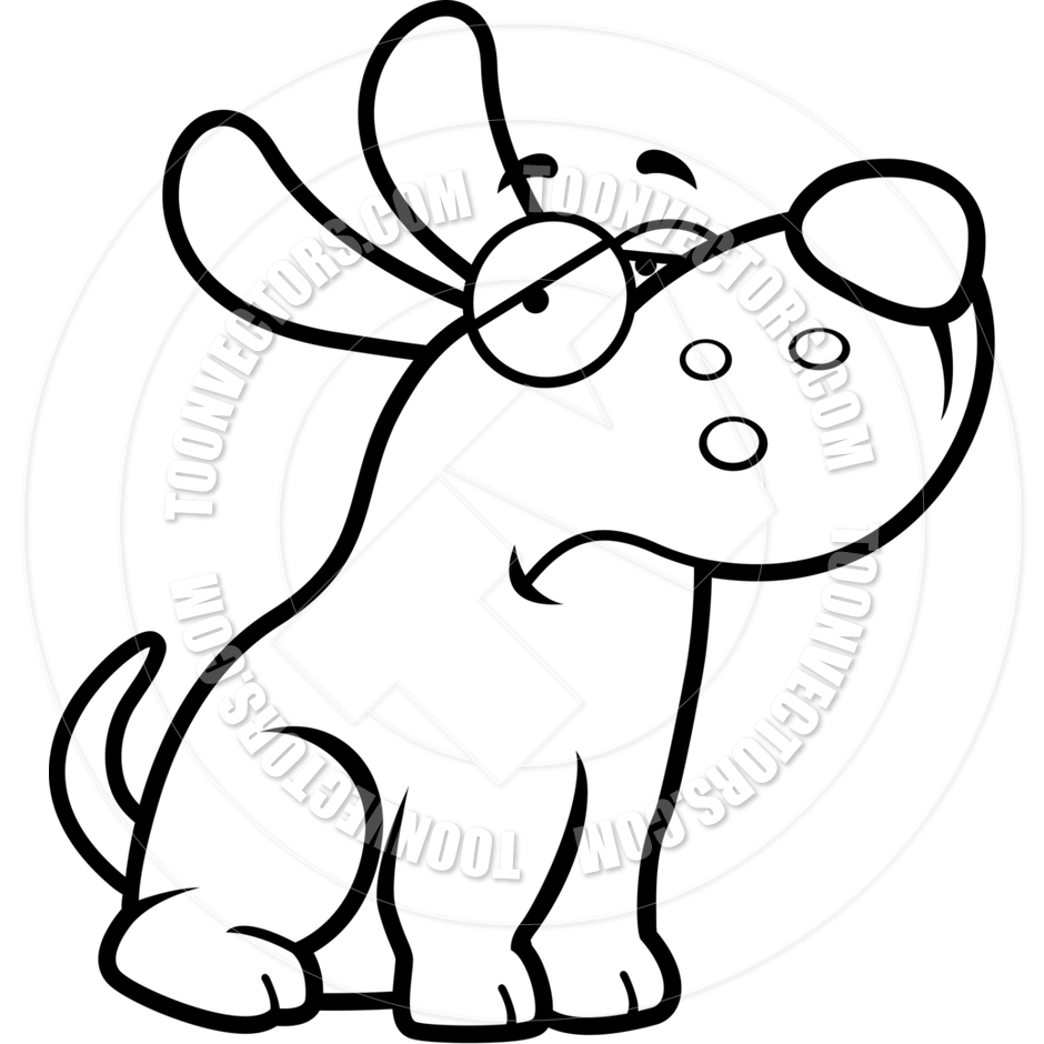 940x940 Cartoon Puppy Dog Sad (Black And White Line Art) By Cory Thoman