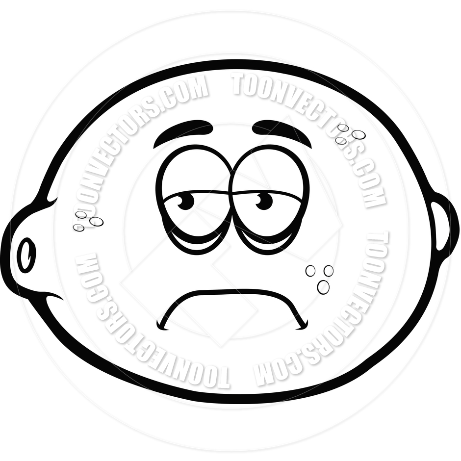 940x940 Sad Lemon (Black And White Line Art) By Cory Thoman Toon Vectors