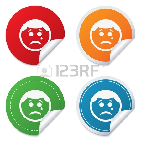 450x450 Sad Face With Tear Sign Icon. Crying Chat Symbol. Four Squares