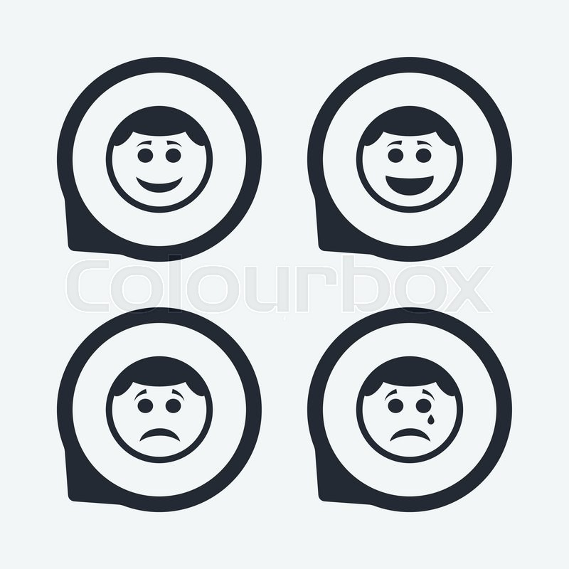 800x800 Circle Smile Face Icons. Happy, Sad, Cry Signs. Happy Smiley Chat