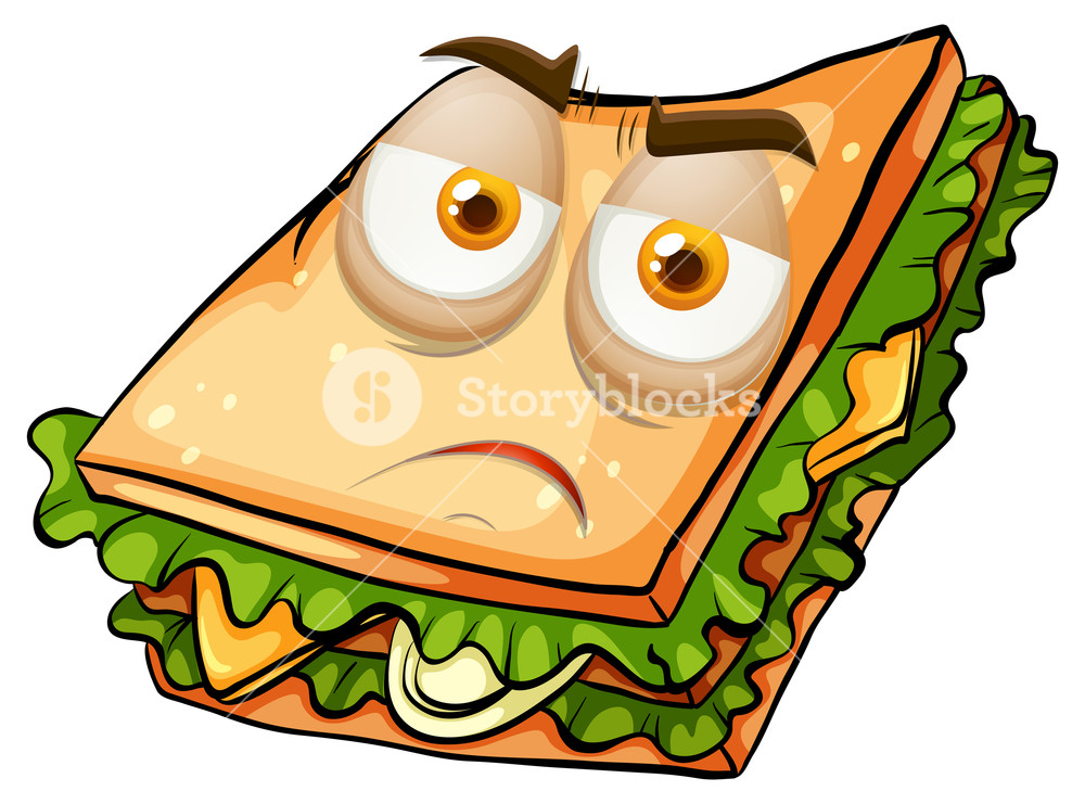 1000x741 Sad Face On Sandwich Illustration Royalty Free Stock Image
