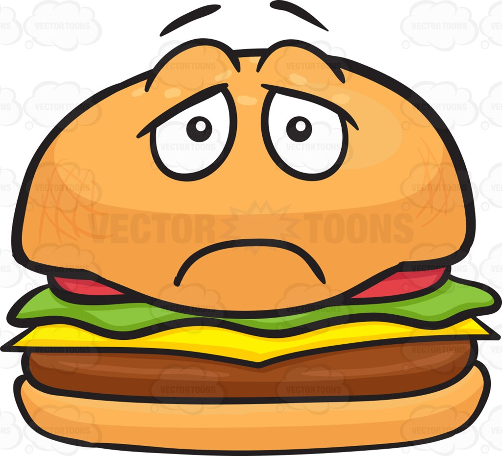 1024x930 Depressed Looking Cheeseburger Cartoon Clipart