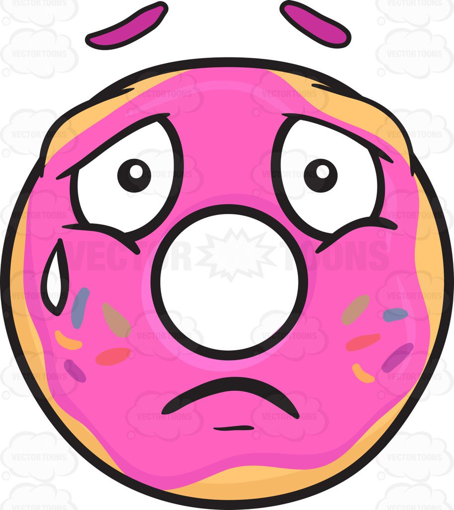 913x1024 Donut Expressing Sadness With A Tear Emoji Cartoon Clipart