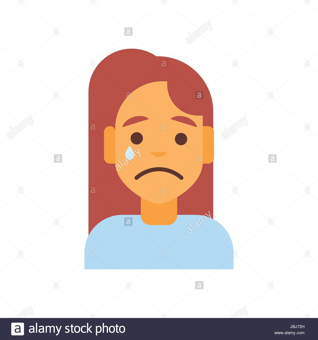 1300x1390 Profile Icon Female Emotion Avatar, Woman Cartoon Portrait Sad