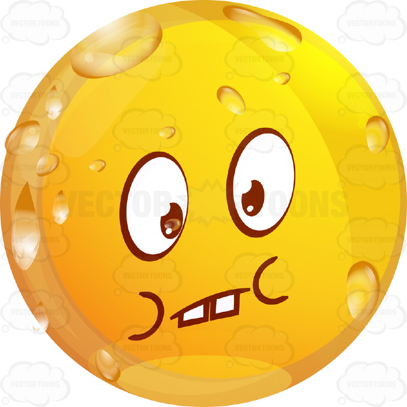 800x800 Sad, Depressed Wet Yellow Smiley Face Emoticon With Lowered Eye