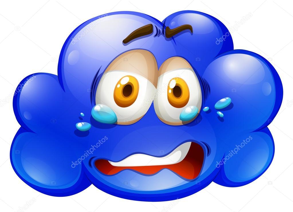 1023x739 Blue Cloud With Sad Face Stock Vector Blueringmedia