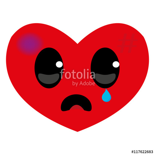500x500 Sad And Wounded Heart, Hurt Red Heart, With Sad Face, Character