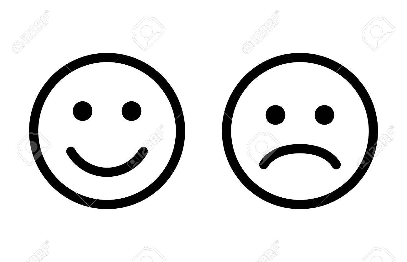 1300x835 Happy And Sad Emoji Smiley Faces Line Art Vector Icon For Apps