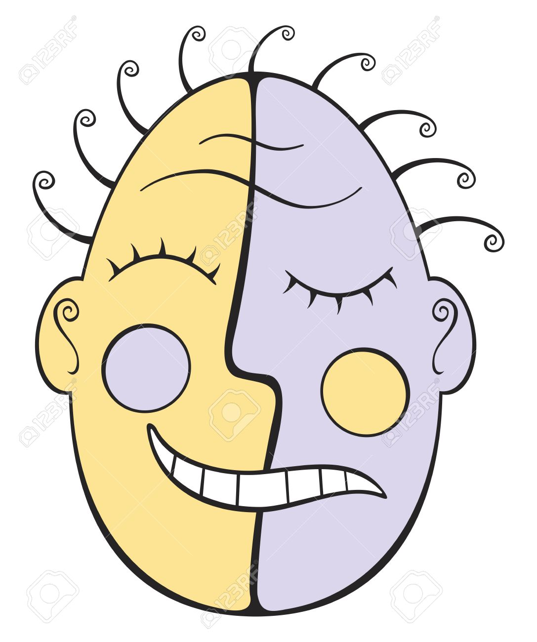 1087x1300 Tribal Mask With Sad And Happy Face Royalty Free Cliparts, Vectors