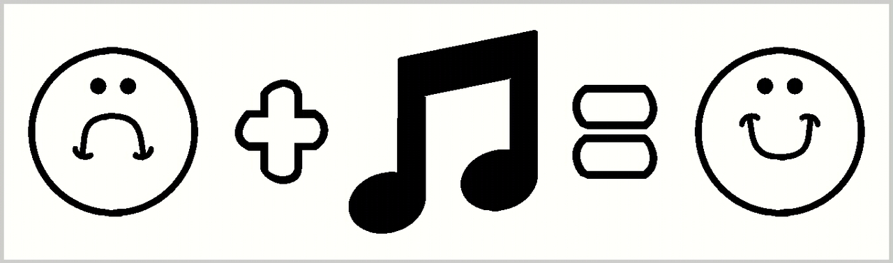 1280x378 Sad Plus Music Equals Happy Face Wall Art Decal