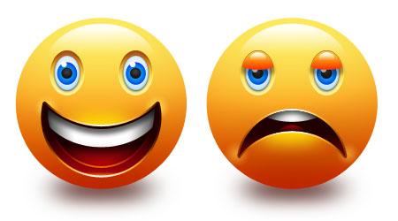 450x250 Smiley And Sad Emotion Icons (Psd)