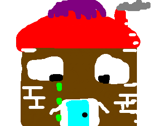 300x250 Sad House Crying Green And Wearing A Brown Toupe