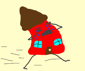 300x250 Sad House Running Away. (Drawing By Keirajasmin)