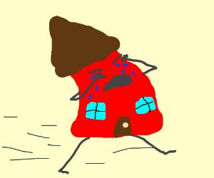 300x250 Sad House Running Away. (Drawing By Keirajasmin)