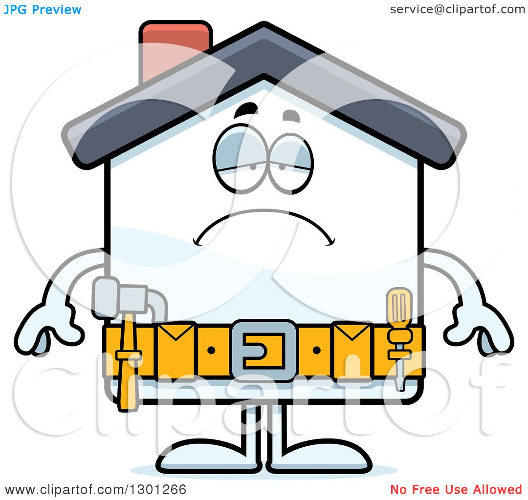 1080x1024 Clipart Of A Cartoon Sad Depressed Home Improvement House