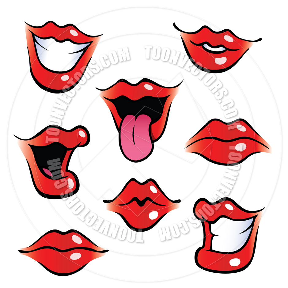 940x940 Cartoon Female Mouths With Glossy Lips By Colin Cramm Illustration