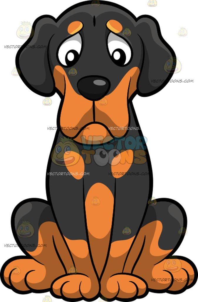 674x1024 A Lonely Beagle Dog Cartoon Clipart