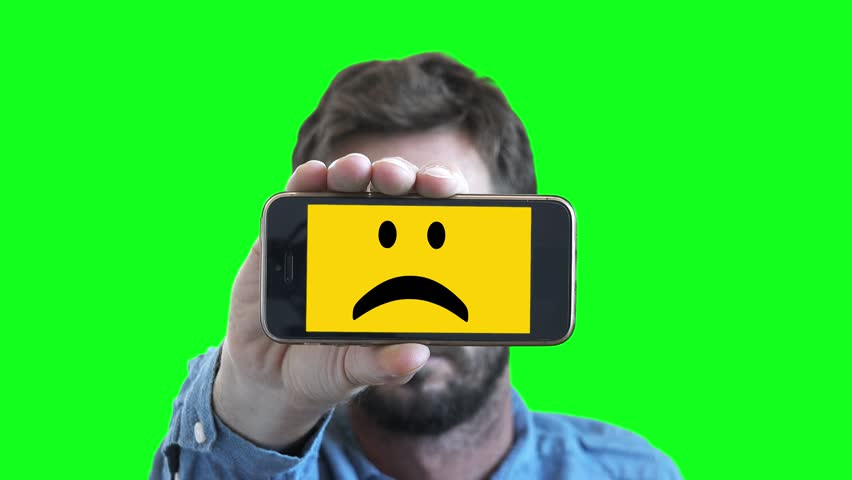 852x480 Sad Smiley Face Man On Smartphone Screen. Man Shows His Feelings