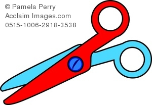 300x208 Art Image Of A Pair Of Child's Safety Scissors Cutting Paper