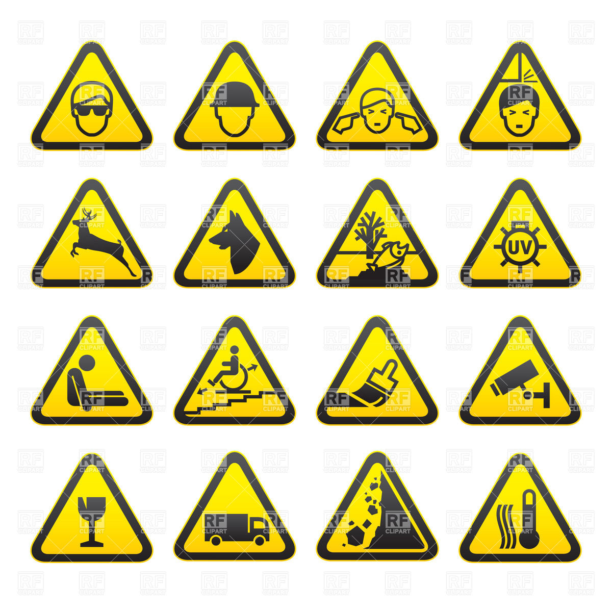 1200x1200 Warning Safety Signs Royalty Free Vector Clip Art Image