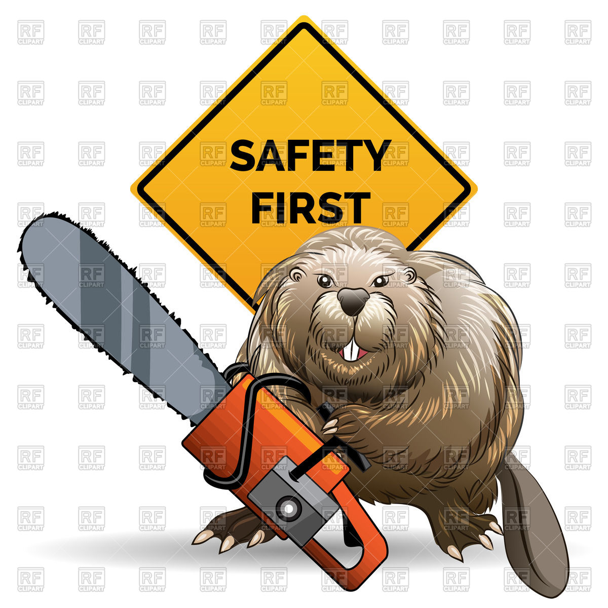 1200x1200 Beaver With Chainsaw Against Sign With Wording Safety First