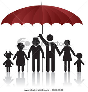 287x300 Art Image Family Protected Under The Safety Of An Umbrella
