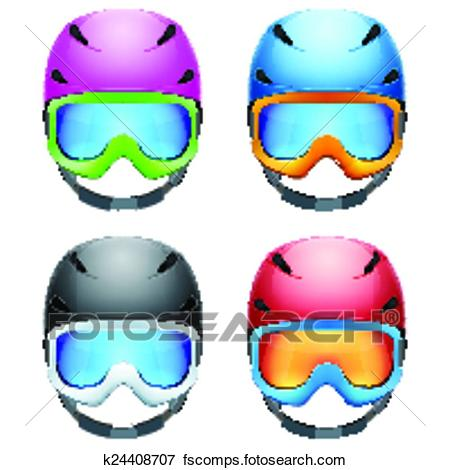450x470 Clip Art Of Set Of Classic Ski Helmets And Snowboard Goggles
