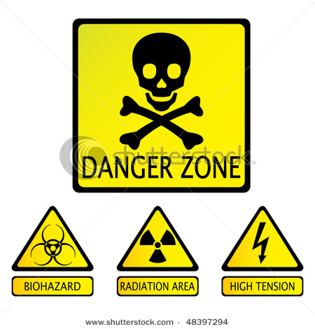 450x470 Zone Warning Sign With Skull And Cross Bones As Well As