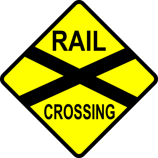 600x600 Caution Railroad Crossing Clip Art