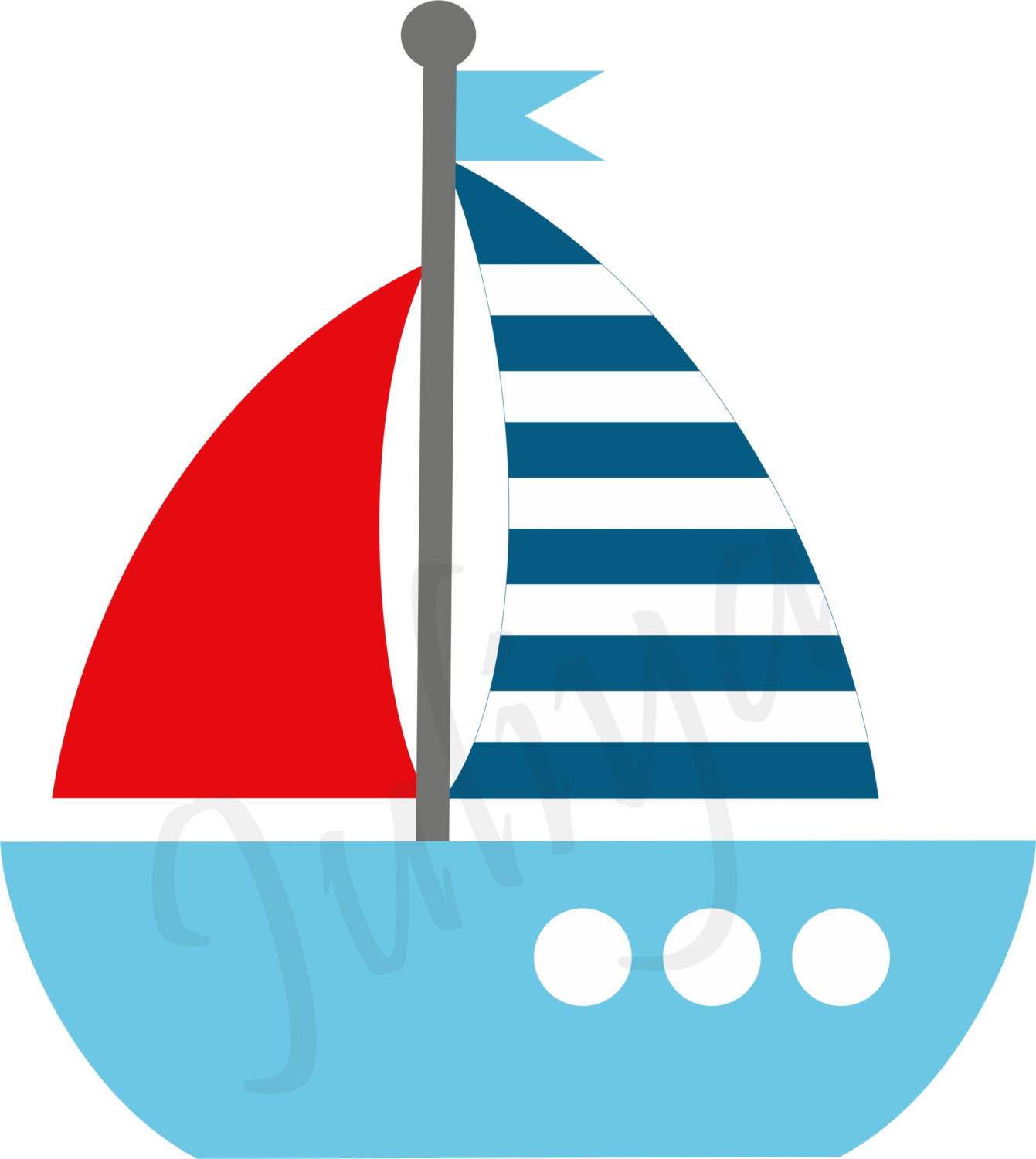1341x1500 Boat Clipart Red And Blue