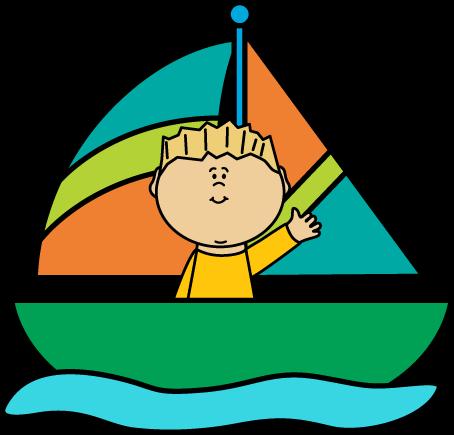 454x435 Boy In A Sailboat Clip Art