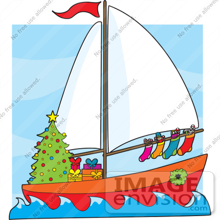 450x450 Christmas Clipart Of A Festive Sailor's Boat With A Christmas Tree