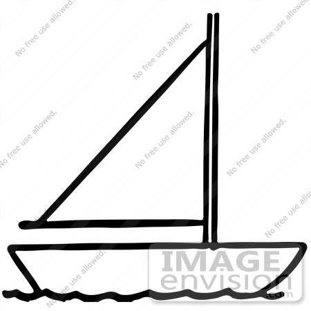 450x450 Clipart Of A Sailboat In Black And White